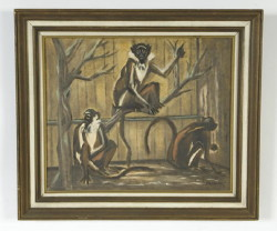 "3 Diana monkeys 20"" x 24"" by F.R. Childs (Childs Estate, Darien, CT) - signed lower right"