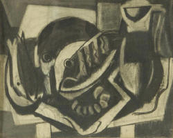 "Charcoal still life of fish 18"" x 23"" signed lower right and dated 1931 by Vaclav Vytlacil (1892 – 1984) – (stains) (Childs Estate, Darien, CT)"