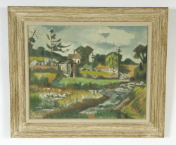 """The Barn and Stream"" Tiverton RI (F. R. Childs) – size 24"" x 30""  (Childs Estate, Darien, CT)"