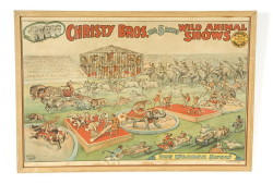 "Christy Brothers Poster (overall size) 41 ½"" x 28 ½"" – copyright 1925 – laid down – various stains – maple frame ca 1960. (Childs Estate, Darien, CT)"