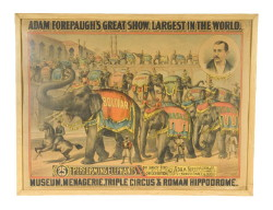 "Adam Forepaugh's Circus Poster – (overall size) 31 ½"" x 41 ½"" – laid down – various stains – ca 1920 (Childs Estate, Darien, CT)"
