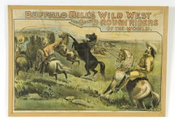 "Buffalo Bill's Wild West Poster – overall size 28 ½"" x 40 ½"" – laid down – creased four ways. (Childs Estate, Darien, CT)"