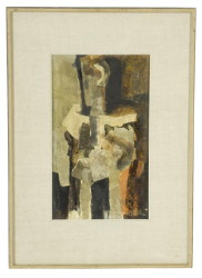 "Abstract ""Figure in Brown"" signed S. M. Adler '63, size 15-3/4"" x 9-1/4"" (Fried Gallery TR1065.1 on verso) (Childs Estate, Darien, CT)"