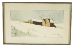 "Watercolor winter landscape with barn signed lower left Allen Blagden (Salisbury, CT – b. 1938) entitled ""March Flight"" size 11-1/2"" x 22"" – (Childs Estate, Darien, CT)"