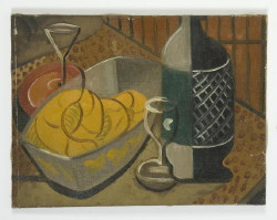 "size 18-1/2"" x 24"" a still life of fruit and glasses unsigned Hitchcock"