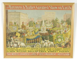 "Barnum Bailey Circus Poster – overall size 31 ½"" x 39 ½"" – laid down – creased, holes and repairs. (Childs Estate, Darien, CT)"