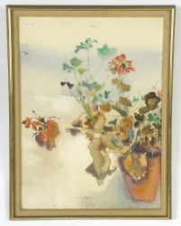 "Watercolor still life signed Ian Woodner 1966, size 30"" x 23"", photo of verso (Childs Estate, Darien, CT)"