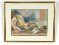 "Pastel drawing entitled ""Nu"" by Andre' Lhote'- sight size 13 ½"" x 18 ¼"".  Overall size 21 ¼"" by 26"". Bearing gallery label on verso signed upper right, in a fine quality gilt frame dated 1920  (Childs Estate, Darien, CT)"