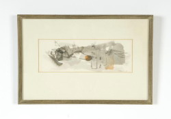 "Watercolor abstract signed lower right Giekere '63, sight size 4-1/4"" x 12"" (Childs Estate, Darien, CT)"