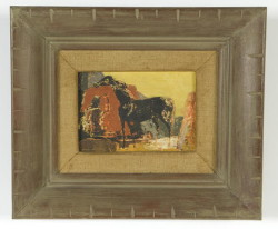 "Oil on masonite of Horse entitled ""Maverick"" signed lower left by Ethel Magafan (1916 – 1993), size 5"" x 7-1/4"" (Childs Estate, Darien, CT)"