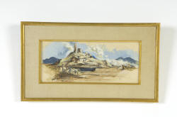 "Gouache ""Oriental Landscape"" T. I. Laughlin – signed lower right  -Sight size 6"" by 14""  (Childs Estate, Darien, CT)"