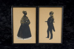 Pair of Irish silhouettes with provenance - ca. 1840 of ship Captain MacDowell and wife, country Cork Ireland (Childs Estate, Darien, CT)