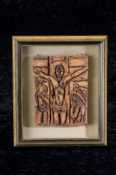 Clay bas relief Crucifixion dated 1951 (after Roualt) by F.R. Childs  (Childs Estate, Darien, CT)