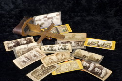 Stereoptican viewer and related cards  (Childs Estate, Darien, CT)